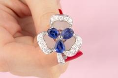 Ella Gafter Ella Gafter Blue Sapphire and Diamond Clip On Earrings Clover Flower Design - 1194332