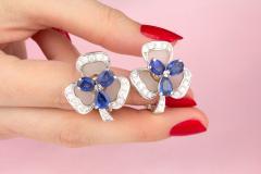 Ella Gafter Ella Gafter Blue Sapphire and Diamond Clip On Earrings Clover Flower Design - 1194334