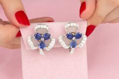 Ella Gafter Ella Gafter Blue Sapphire and Diamond Clip On Earrings Clover Flower Design - 1194335
