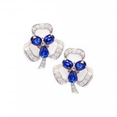 Ella Gafter Ella Gafter Blue Sapphire and Diamond Clip On Earrings Clover Flower Design - 1196182