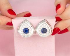 Ella Gafter Ella Gafter Blue Sapphire and Diamond Clip on Earrings - 1143935