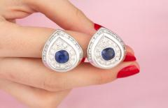 Ella Gafter Ella Gafter Blue Sapphire and Diamond Clip on Earrings - 1143939