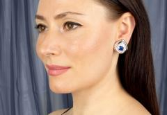 Ella Gafter Ella Gafter Blue Sapphire and Diamond Clip on Earrings - 1143940