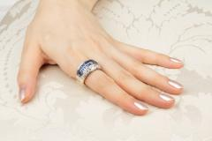 Ella Gafter Ella Gafter Blue Sapphire and Diamond Cocktail Ring - 1097289