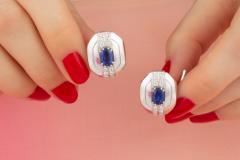 Ella Gafter Ella Gafter Blue Sapphire and Diamond Cufflinks White Gold - 1030112
