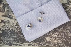 Ella Gafter Ella Gafter Blue Sapphire and Diamond White Gold Cufflinks - 1030135