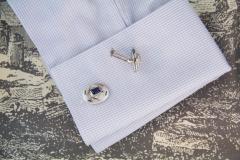 Ella Gafter Ella Gafter Blue Sapphire and Diamond White Gold Cufflinks - 1030136
