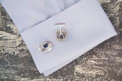 Ella Gafter Ella Gafter Blue Sapphire and Diamond White Gold Cufflinks - 1030137