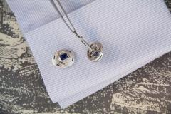 Ella Gafter Ella Gafter Blue Sapphire and Diamond White Gold Cufflinks - 1030138