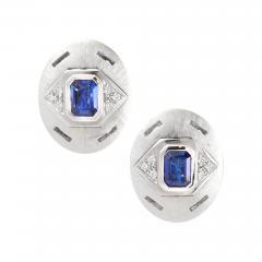 Ella Gafter Ella Gafter Blue Sapphire and Diamond White Gold Cufflinks - 1030196