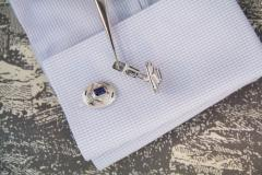 Ella Gafter Ella Gafter Blue Sapphire and Diamond White Gold Cufflinks - 1206453