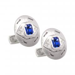Ella Gafter Ella Gafter Blue Sapphire and Diamond White Gold Cufflinks - 1211942