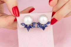 Ella Gafter Ella Gafter Blue Sapphire and South Sea Pearl Diamond Earrings - 1176084