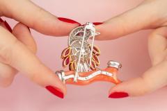 Ella Gafter Ella Gafter Coral Pearl Ruby Diamond Bird Brooch Pin - 1042595