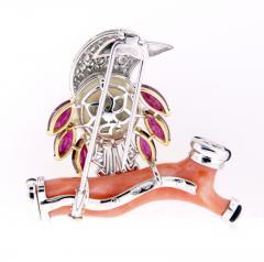 Ella Gafter Ella Gafter Coral Pearl Ruby Diamond Bird Brooch Pin - 1042600