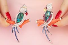 Ella Gafter Ella Gafter Coral Ruby Blue Sapphire Love Bird Diamond Brooch Pins - 1011773