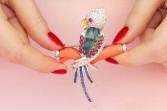 Ella Gafter Ella Gafter Coral Ruby Blue Sapphire Love Bird Diamond Brooch Pins - 1011775