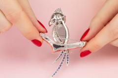 Ella Gafter Ella Gafter Coral Ruby Blue Sapphire Love Bird Diamond Brooch Pins - 1011779