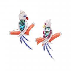 Ella Gafter Ella Gafter Coral Ruby Blue Sapphire Love Bird Diamond Brooch Pins - 1011807