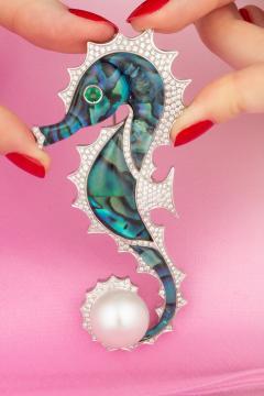 Ella Gafter Ella Gafter Diamond Seahorse Brooch Pin - 1046674