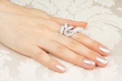 Ella Gafter Ella Gafter Diamond White Gold Snake Ring - 1139608