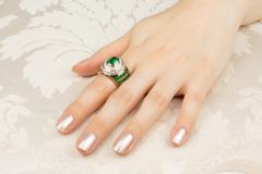 Ella Gafter Ella Gafter Emerald Diamond Dome Cocktail Ring - 1097702