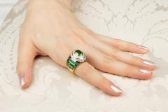 Ella Gafter Ella Gafter Emerald Diamond Dome Cocktail Ring - 1097704