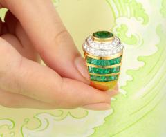 Ella Gafter Ella Gafter Emerald Diamond Dome Cocktail Ring - 1097710