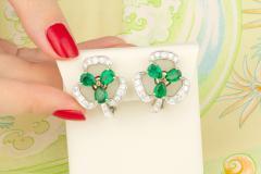Ella Gafter Ella Gafter Emerald and Diamond Clip on Earrings Clover Flower Design - 1142025