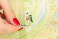Ella Gafter Ella Gafter Emerald and Diamond Clip on Earrings Clover Flower Design - 1142026