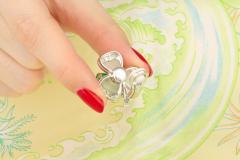 Ella Gafter Ella Gafter Emerald and Diamond Clip on Earrings Clover Flower Design - 1142027