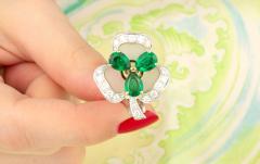 Ella Gafter Ella Gafter Emerald and Diamond Clip on Earrings Clover Flower Design - 1142028