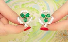 Ella Gafter Ella Gafter Emerald and Diamond Clip on Earrings Clover Flower Design - 1142029