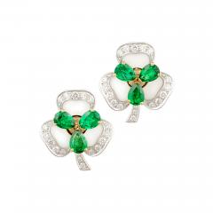 Ella Gafter Ella Gafter Emerald and Diamond Clip on Earrings Clover Flower Design - 1145407