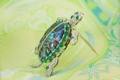 Ella Gafter Ella Gafter Emerald and Diamond Turtle Brooch Pin - 1043038