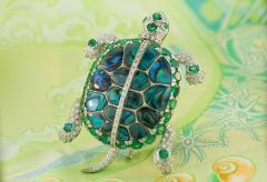 Ella Gafter Ella Gafter Emerald and Diamond Turtle Brooch Pin - 1043039