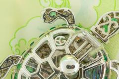 Ella Gafter Ella Gafter Emerald and Diamond Turtle Brooch Pin - 1043040