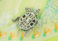 Ella Gafter Ella Gafter Emerald and Diamond Turtle Brooch Pin - 1043041
