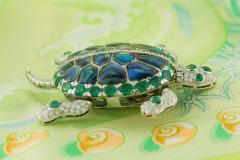 Ella Gafter Ella Gafter Emerald and Diamond Turtle Brooch Pin - 1043043