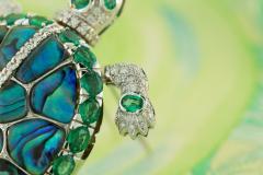 Ella Gafter Ella Gafter Emerald and Diamond Turtle Brooch Pin - 1043044
