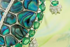 Ella Gafter Ella Gafter Emerald and Diamond Turtle Brooch Pin - 1043047