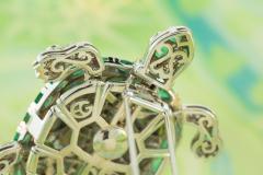 Ella Gafter Ella Gafter Emerald and Diamond Turtle Brooch Pin - 1043049