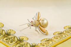 Ella Gafter Ella Gafter Golden Pearl Fancy Color Diamonds Bee Brooch Pin - 1042482