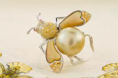 Ella Gafter Ella Gafter Golden Pearl Fancy Color Diamonds Bee Brooch Pin - 1042487