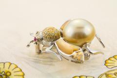 Ella Gafter Ella Gafter Golden Pearl Fancy Color Diamonds Bee Brooch Pin - 1042488