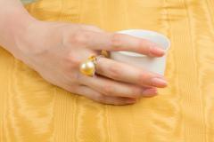 Ella Gafter Ella Gafter Golden Pearl Yellow Sapphire Diamond Cocktail Ring - 1098838