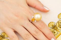 Ella Gafter Ella Gafter Golden Pearl Yellow Sapphire Diamond Cocktail Ring - 1098843