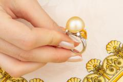 Ella Gafter Ella Gafter Golden Pearl Yellow Sapphire Diamond Cocktail Ring - 1098851