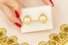 Ella Gafter Ella Gafter Golden Pearl and Diamond Clip on Earrings White Gold - 1142190