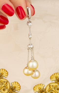 Ella Gafter Ella Gafter Golden Pearl and Diamond Drop Earrings - 1172306